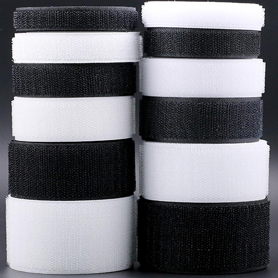 1M Pair Hook And Loop Fastener Tape No Glue The Hook Velcros Sewing-on Strips Magic Tape DIY White Black 16/20/25/30/38/50/100mm