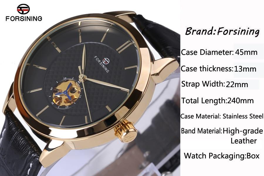 Forsining Classic Business сериясы Black Golden Case - Ерлердің сағаттары - фото 6