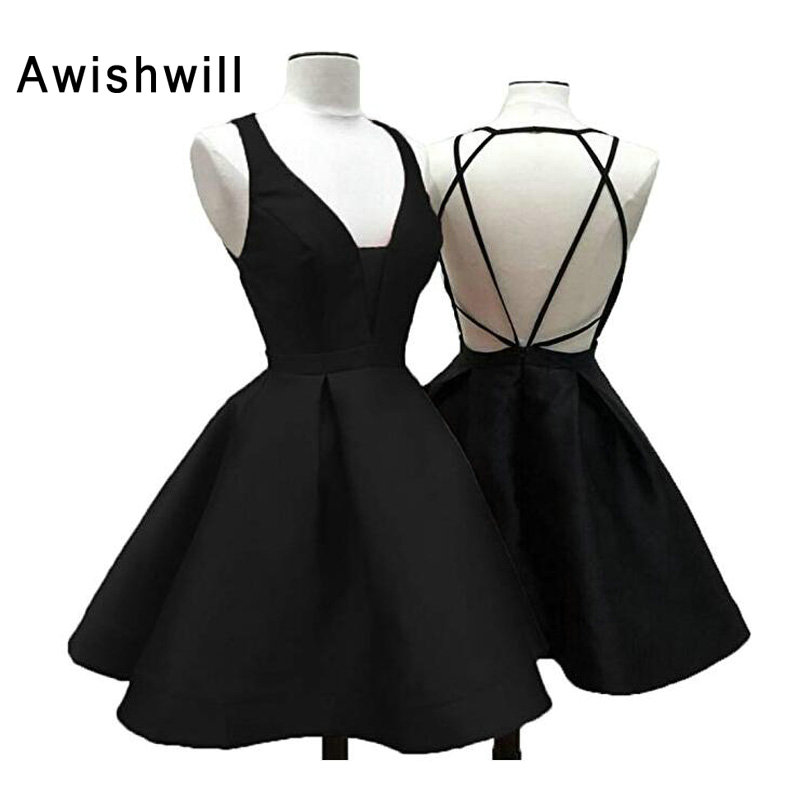 Real Photos Sexy Backless Cocktail Dress V-neck Satin A Line Short Homecoming Dress Mini Graduation Party Dresses Cheap(China)
