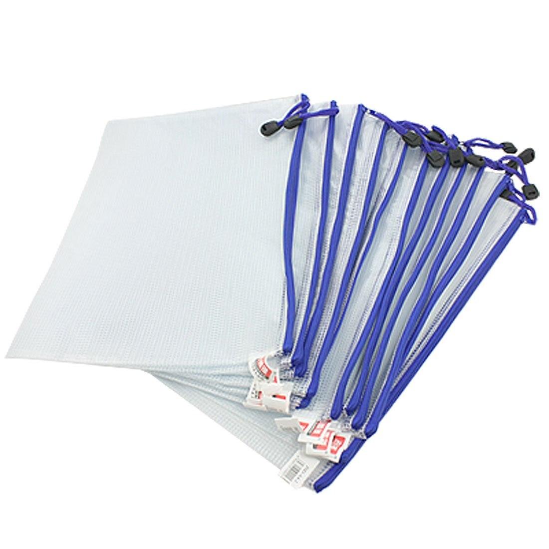 SOSW-12 Pcs White Plastic Zipper Pen File Document Bags Folders Pockets