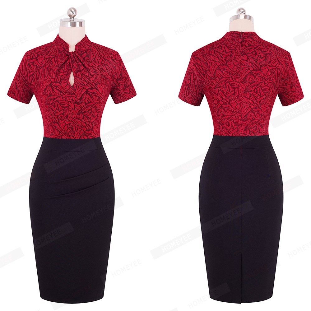 Elegant Work Office Business Drapped Contrasting Bodycon Slim Pencil Lady Dress Women Sexy Front Key Hole Summer Dress EB430 35