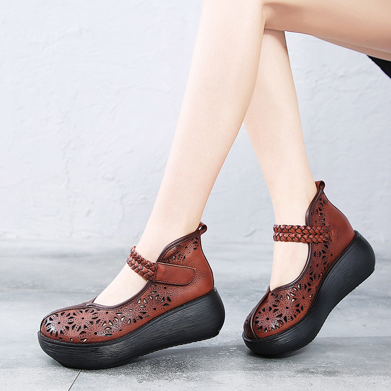 Women Leather Pumps 6 Cm High Heels Summer Shoes 2019 Genuine Leather Women Pumps Handmade Wedge Shoes Ladies Embroidery PumpsWomen Leather Pumps 6 Cm High Heels Summer Shoes 2019 Genuine Leather Women Pumps Handmade Wedge Shoes Ladies Embroidery Pumps