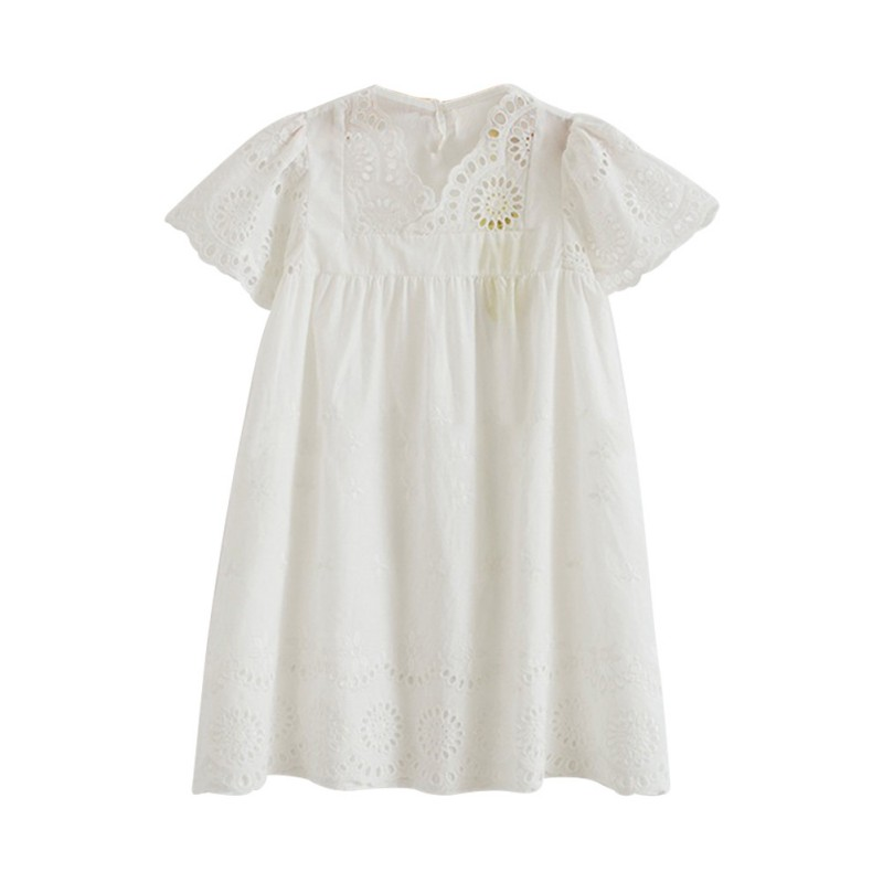 New Baby Girls Cotton Dress Summer Embroidered Children Clothes White Lace Princess Korean Cute Thin Dress Kids Dresses 2017 summer girls clothes blue stripe dress for girls kids ruffles dress headband korean children dress new cotton kids wear