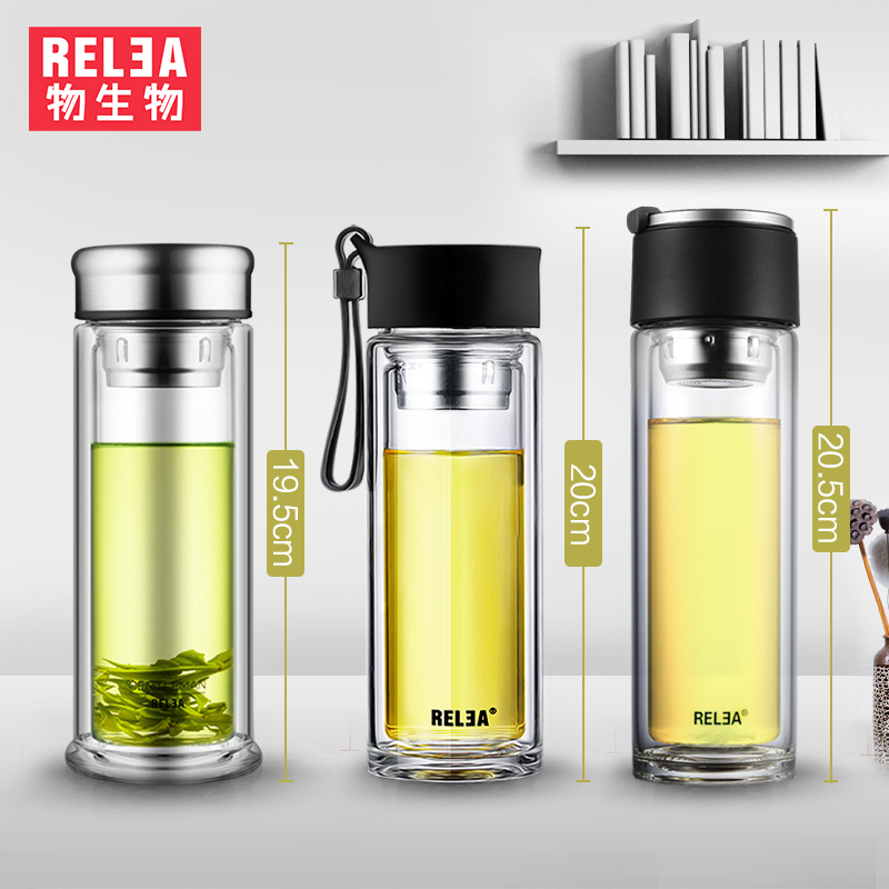 da3dad439d portable crystal flask water Tea Infuser Glass Tumbler double wall  borosilicate glass bottle stainless steel filter bottle