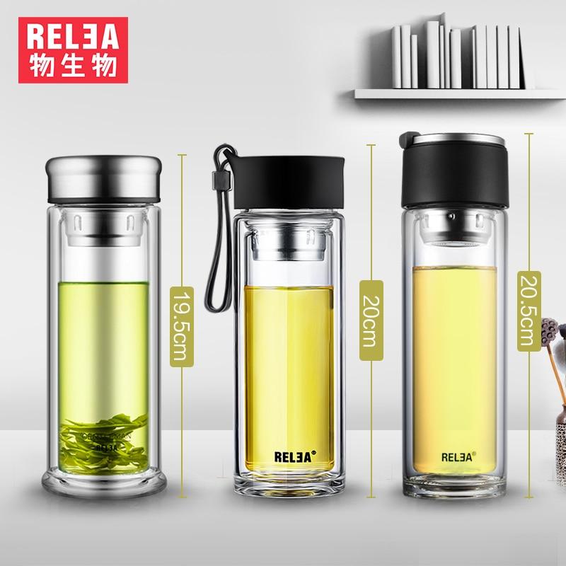 Frasco de agua portátil Té Infusor Vaso de vidrio Botella de vidrio de borosilicato de doble pared Botella de filtro de acero inoxidable