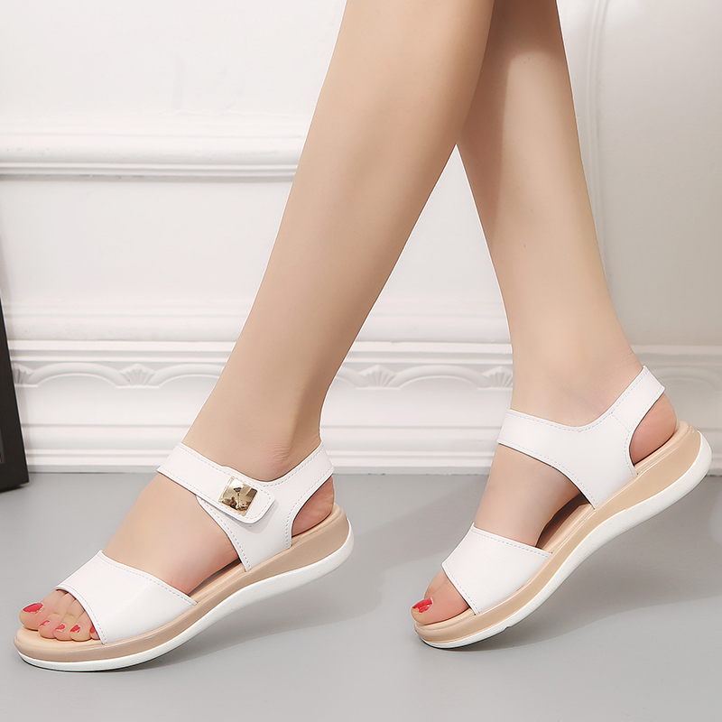 Lucyever Female Shoes Sandals Comfortable Flat Summer Ladies Open-Toe Solid Leisure