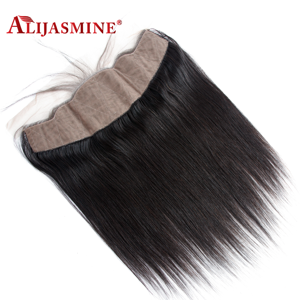 AliJasmine Brazilian Straight 13X4 Silk Base Lace Frontal Closure With Baby Hair Free Part Human Hair