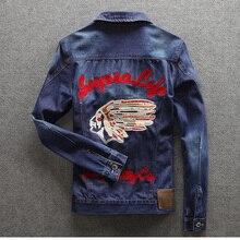 Men denim jacket brand clothing 100%cotton casual mens jean jacket dark blue solid coat male Autumn Spring