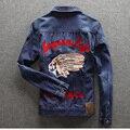 Los hombres chaqueta de mezclilla ropa de la marca 100% algodón para hombre casuales chaqueta de jean azul oscuro sólido abrigo masculina Otoño Primavera