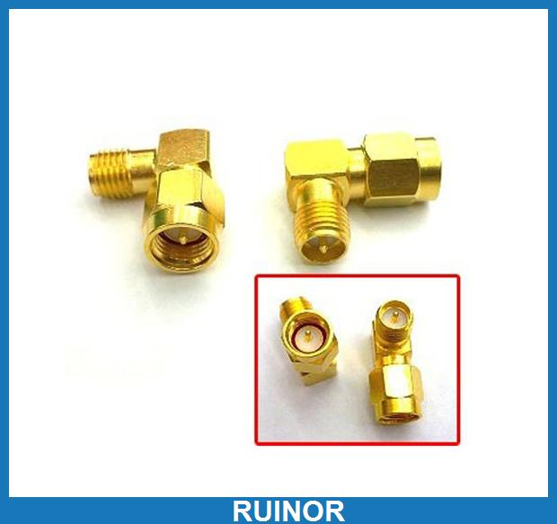 цена на 20pcs SMA Plug Male to RP SMA Jack Female Adapter Right Angle Connector Adapter