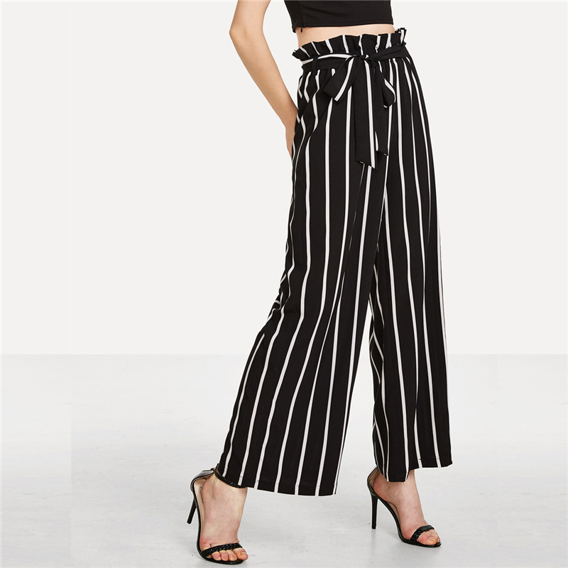 Ruffle Waist Striped Wide Leg Pants 2018 Summer Elastic Belted Bow Loose Long Trousers Women High Plus Size