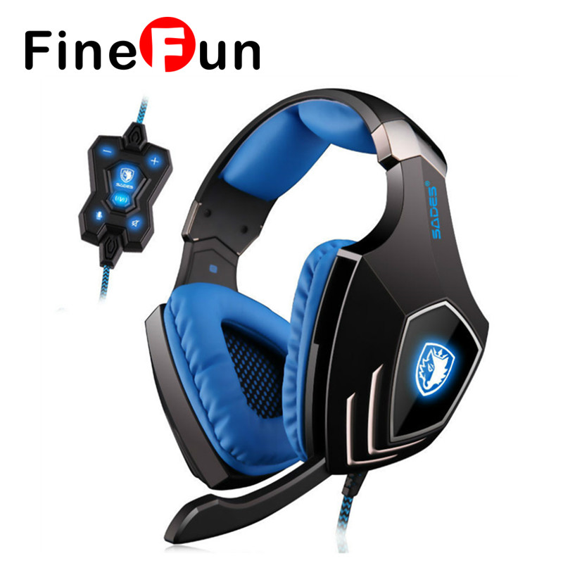 ФОТО FineFun A60 Headphone Set 7.1 Surround Sound Gaming Headset Pro Gamer Vibration Function Headphones with Microphone for Game PC