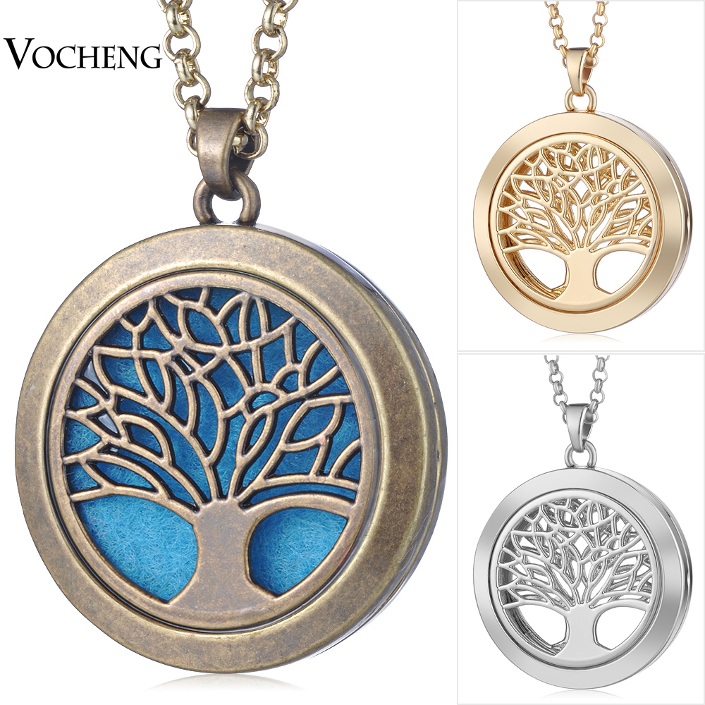 35mm Aromatherapy Locket Necklace Life Tree 3 Colors Magnetic Pendant Randomly Send 5pcs Felt Pads as Gift VA-350