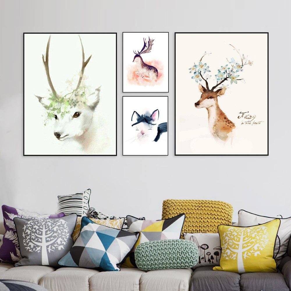 Nordic Minimalist Modern Watercolor Canvas Painting Art HD Print Poster Elk Deer Head Nástěnné malby Obývací pokoj Domácí Dekor Mix