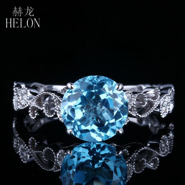 HELON Solid 14K White Gold 7MM Round 100% Genuine Blue Topaz & Pave Natural Diamonds Filigree Engagement Wedding Art Deco Ring