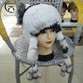 Gorros de inverno rex pele de coelho chapéu de pele de malha para mulheres chapéu com pele de raposa flor top tamanho livre das mulheres casuais chapéu