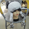 winter beanies fur hat for women knitted rex rabbit fur hat with fox fur flower top free size casual women's hat
