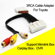 Car 3RCA Cable Adapter For  COROLLA REIZ CAMRY CROWN RAV4 PRADO DVD Navigation Headunit 28Pin Blue AV Port