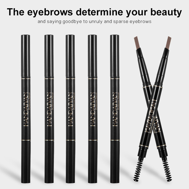 Handaiyan dual ended automatic eyebrow pencil waterproof long lasting grey black eyebrow pomade microblading tattoo pen HF110 3