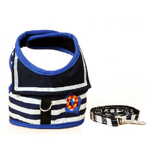 Blue Stripe Navy Dog  Adjustable Soft Breathable Harness Vest Harness for Dogs Puppy Cat Collar Pets Chest Strap Leash Set Y29