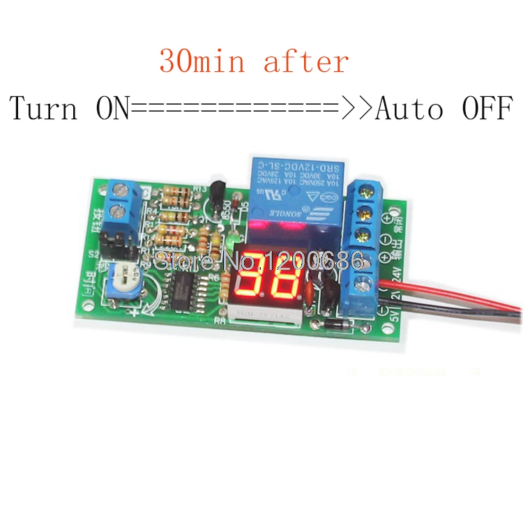 цена на 12V Turn off 30 min after power supply timer relay Trigger delay relay with display delay relay 30 mini timer delay relay
