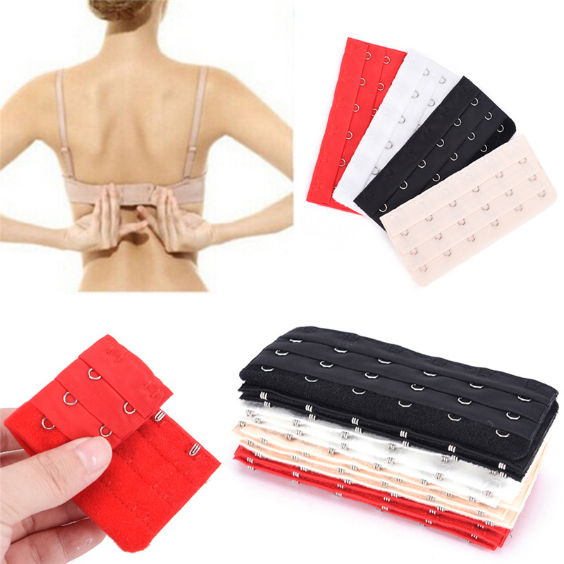 3pcs 4 Colors Bra Extenders Strap Buckle Extension 3 Rows 6 Hooks Clasp Straps Women Bra Strap Extender Sewing Tool