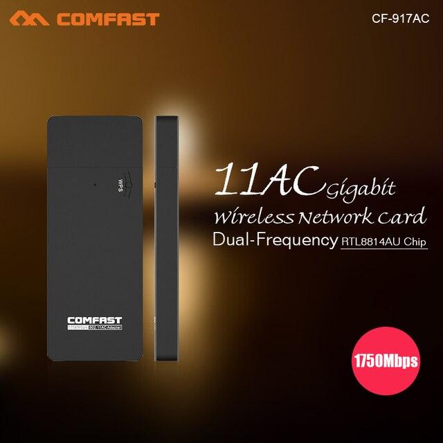 1750 mbps usb adaptador wi-fi comfast cf-917ac 802.11ac usb3.0 4*4 mimo dupla freqüência da placa de rede 2.4g + 5.8g ac wifi dognle