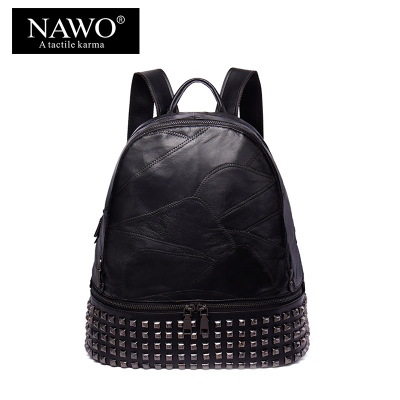 NAWO New Rivet Women Backpack Sheepskin Genuine Leather Women Bag Preppy Style School Backpack For Girls Laptop Backpacks Female new designer women backpack for teens girls preppy style school bag genuine leather backpack ladies high quality black rucksack
