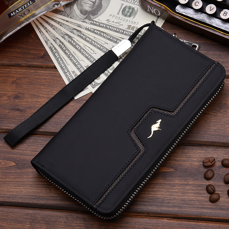 Designer Men Wallets Famous Brand kangaroo Men Long Wallet Clutch Male Wrist Strap Wallet Big Capacity Phone Bag Card Holder