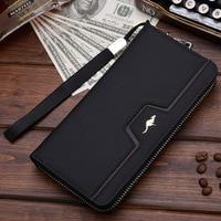 Designer Men Wallets Famous Brand Kangaroo Men Long Wallet Clutch Male Wrist Strap Wallet Big Capacity