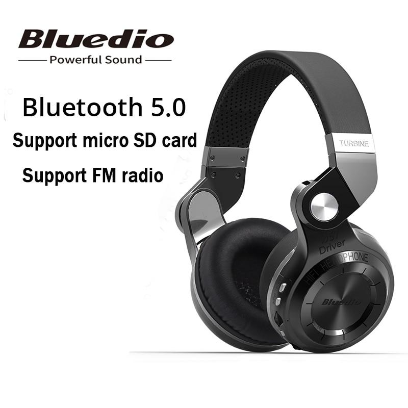 Original Bluedio T2 + plegable auriculares inalámbricos con micrófono auriculares Bluetooth soporta Radio FM y tarjeta SD