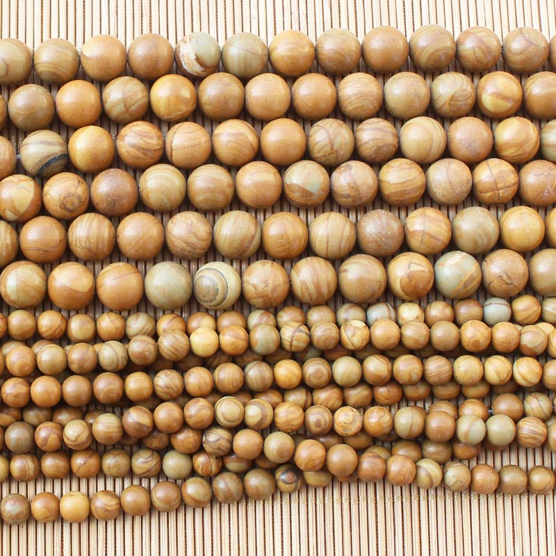 Natural Wood Stone 4 12mm Round Loose Beads 15 BeadsFor DIY font b Jewelry b font