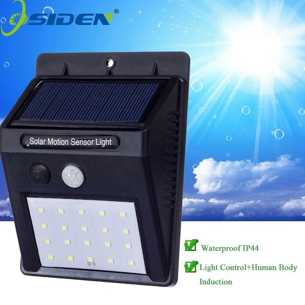 OSIDEN LED Solar Lámpara 2835smd 20led Luz Solar Powered luz Del Jardín LLEVÓ LA Luz Solar A Prueba de agua Al Aire Libre ABS Lámpara de Pared luz de la Escalera