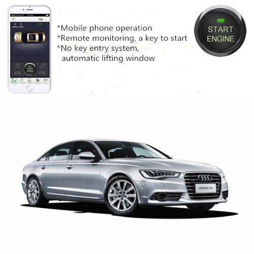 PLUSOBD Système D'alarme De Voiture À Distance Moteur Start Stop Pour Audi A6 A4 Q5 Mobile De Voiture Démarreur GPS de Suivi + Voiture verrouiller/déverrouiller + Fenêtre Étroite