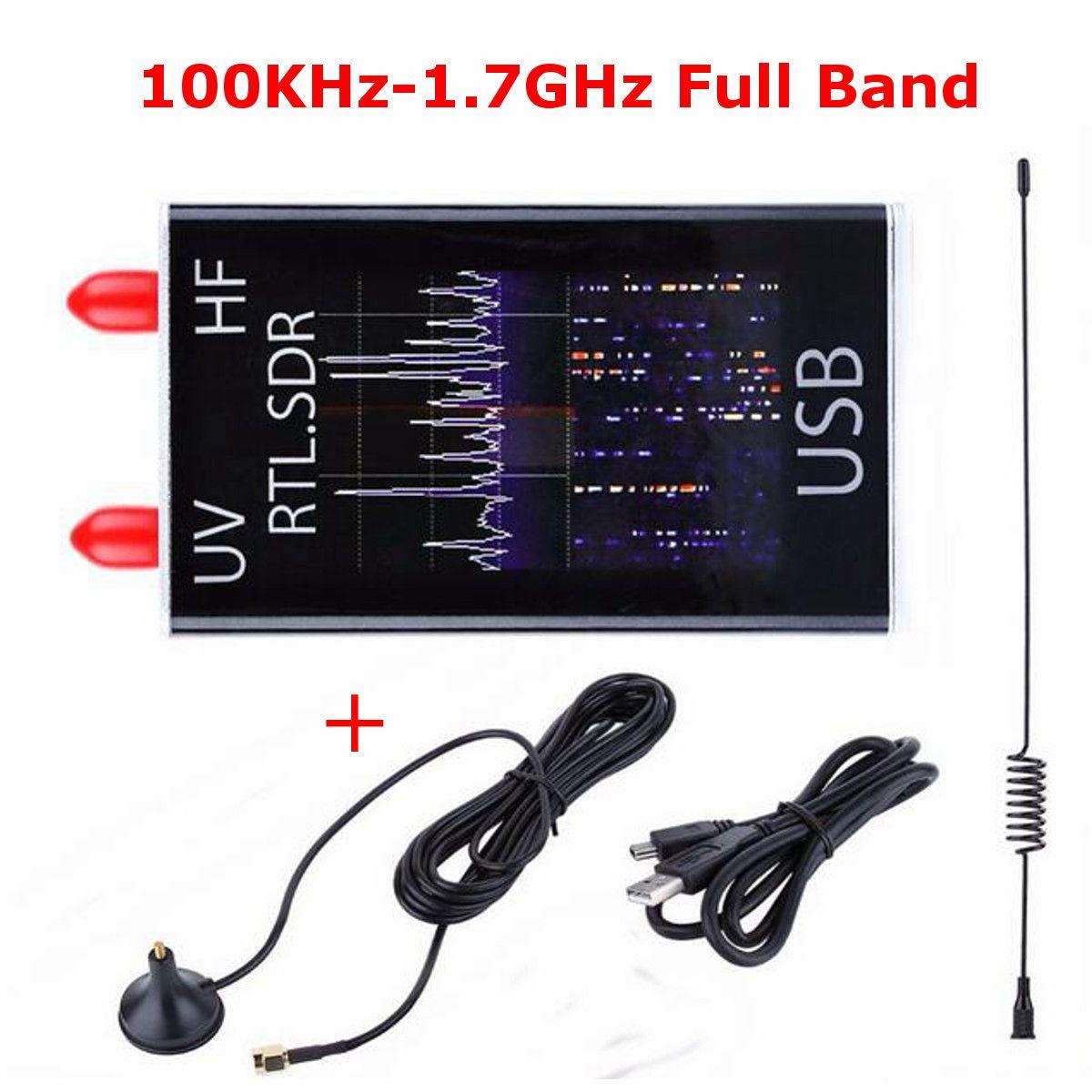 Mini Completa B e UV HF RTL-SDR USB Receptor Sintonizador de TV Digital Móvel 100 KHz-1.7 GHz/R820T + 8232 Presunto Rádio com Antena para Telefone PC