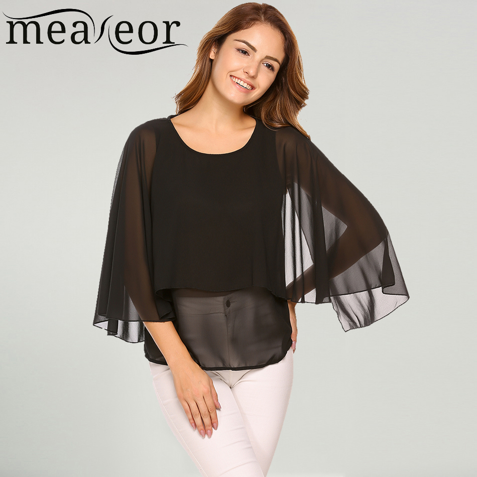Meaneor Women Chiffon Loose Autumn Blouses Shirts 3/4 Sleeve Double Layer Flare Sleeve Blouse Solid Pullover Blusas Tops