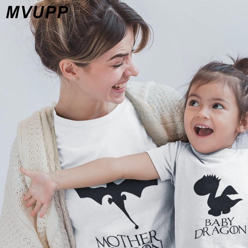 DRAGON Father Mother Baby Funny T Shirt Daughter And Son Matching Clothes Big Littler Sisters Mommy And Me Outfits Family Look