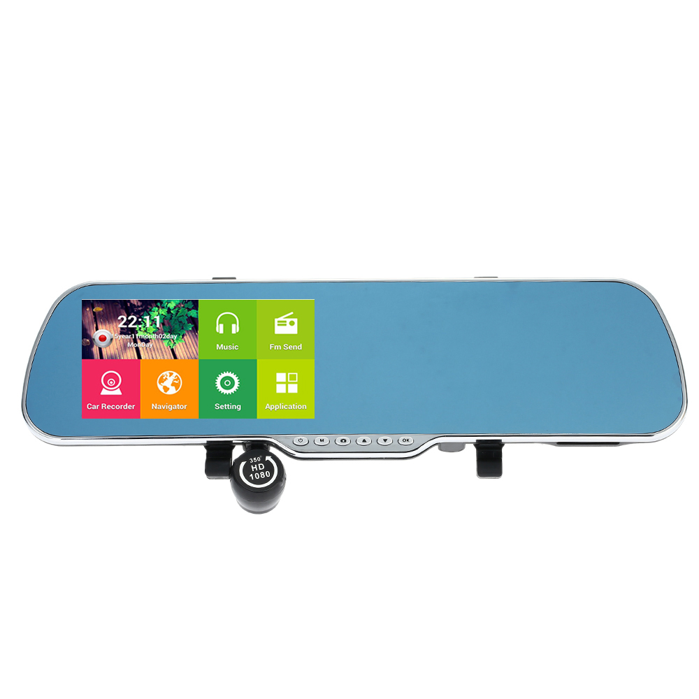Recorder Camera Car-Rearview-Mirror Smart-System Android DVR GPS G-Sensor Dual-Lens Motion-Night-Vision
