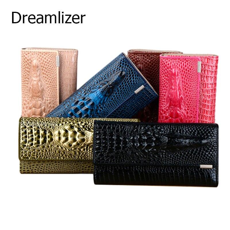 3 fach Echte Leder Frauen Brieftasche Alligator 13 Farbe Haspe Krokodil Kopf Weibliche Kupplung Marke Carteras Geldbörse Brieftasche Frauen