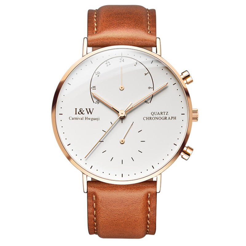 New Carnival Brand Simple Quartz Watch Men Dual Time Zone Luminous Ultra-Thin Rose Case Leather Strap Five Hands Rose Gold Clock