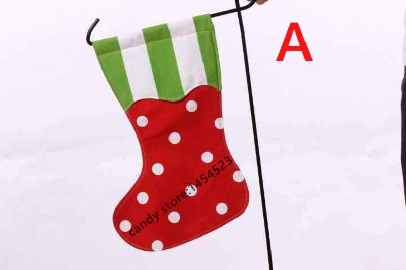 50pcslot high quality outdoor decoration christmas stocking garden flag double flag wholesale monogram xmas gift