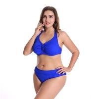 2018 Women Plus Size Bikini Set Push Up Pure Color High Waist Big Chest Female Swimwear Sexy Swimsuit Maillot De Bain Femme