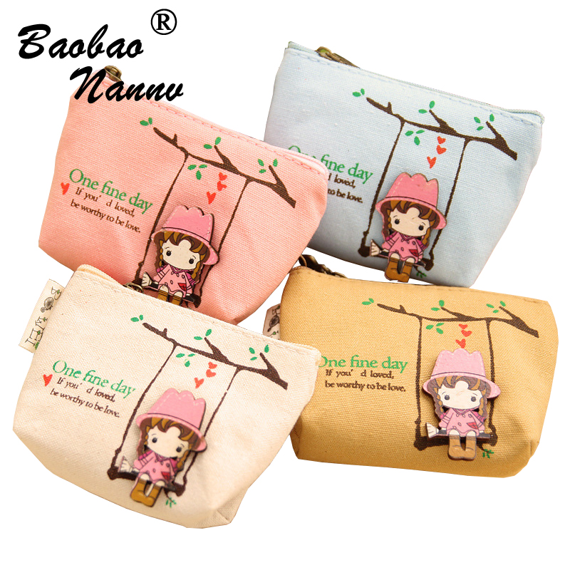 Girls Mini Coin Purses Zipper Cute Figure Children's Purse Canvas Wallet Bag bolsa de moeda coins pouch monedero Ladies