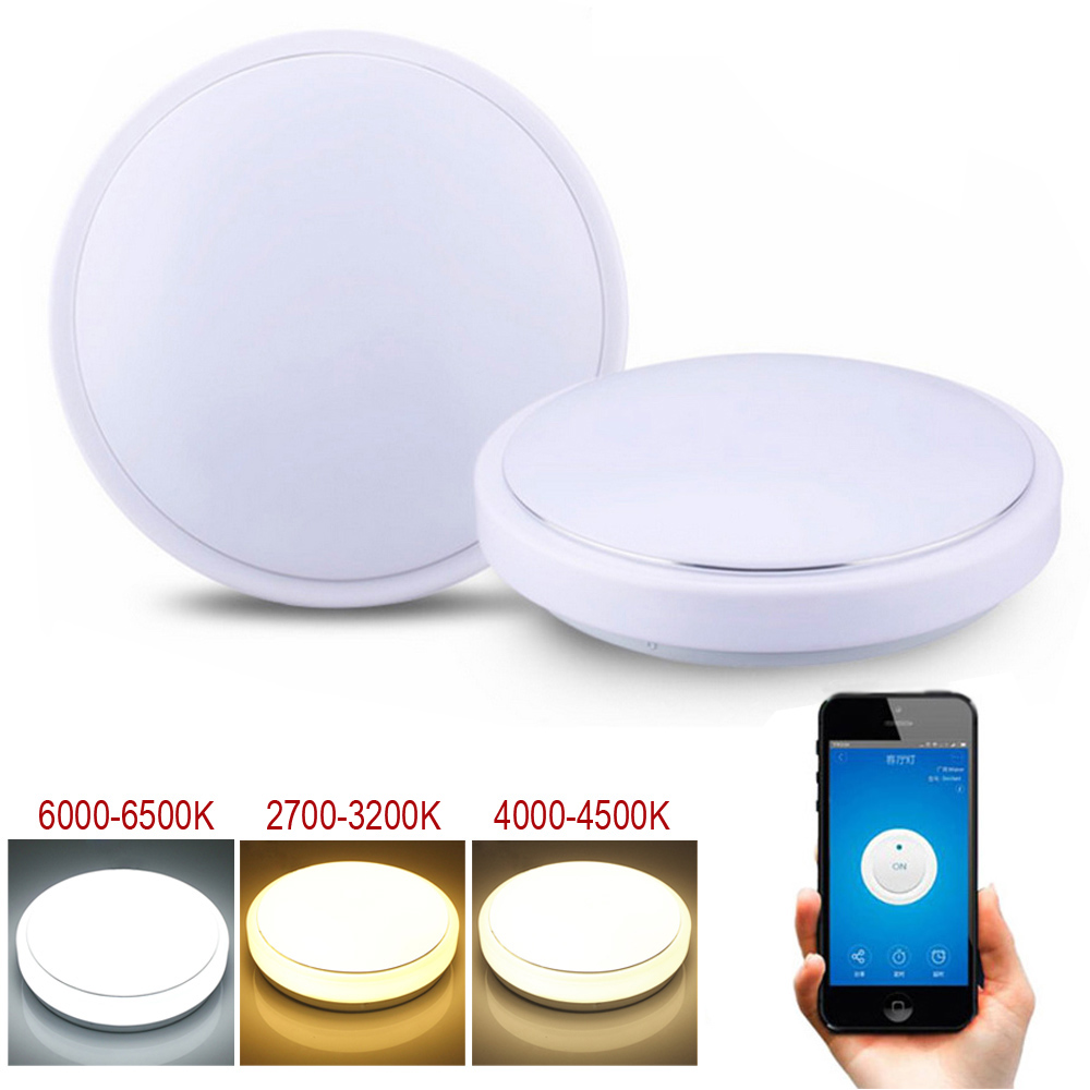 JIAWEN 24 W wifi LED plafonnier blanc froid + blanc naturel + blanc chaud Smart lampe à LED AC100-240 V