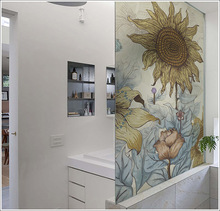 Customized size windows Glass Film Door Stickers Vintage  sticker Art opaque Self-Adhesive OR static cling Sunflower