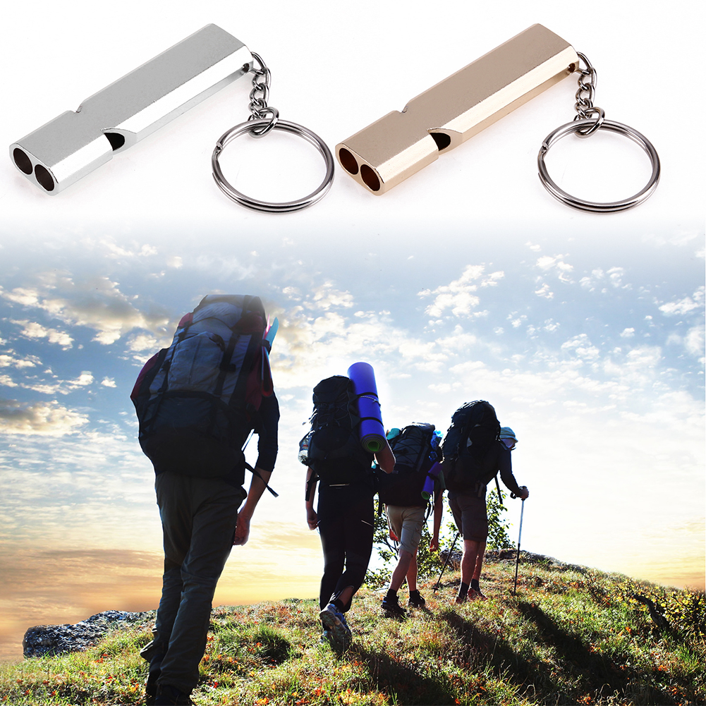 1Pcs Whistle Keychain Outdoor Survival Whistle Double Pipe High Decibel Outdoor Emergency Whistle Keychains Gold Silver outdoor survival aluminum alloy whistle w keychain black 5 pcs