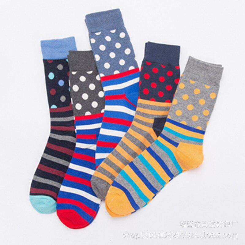 2018new men/women color cotton happy sock dots stripes pattern harajuku designer brand fashion high quality hip hop funny sokken