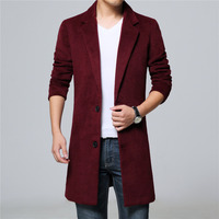 Mens Wool Blend Trech Coat Long Coats England Style Brief Two Single Breasted Button Thick For