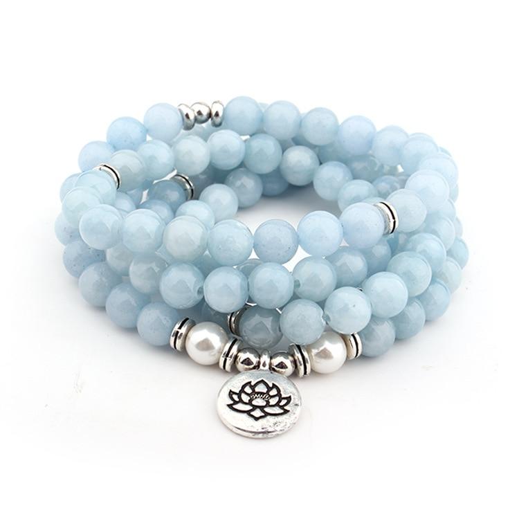 Women's Pastel Blue Natural Stone Lotus Bracelet 2