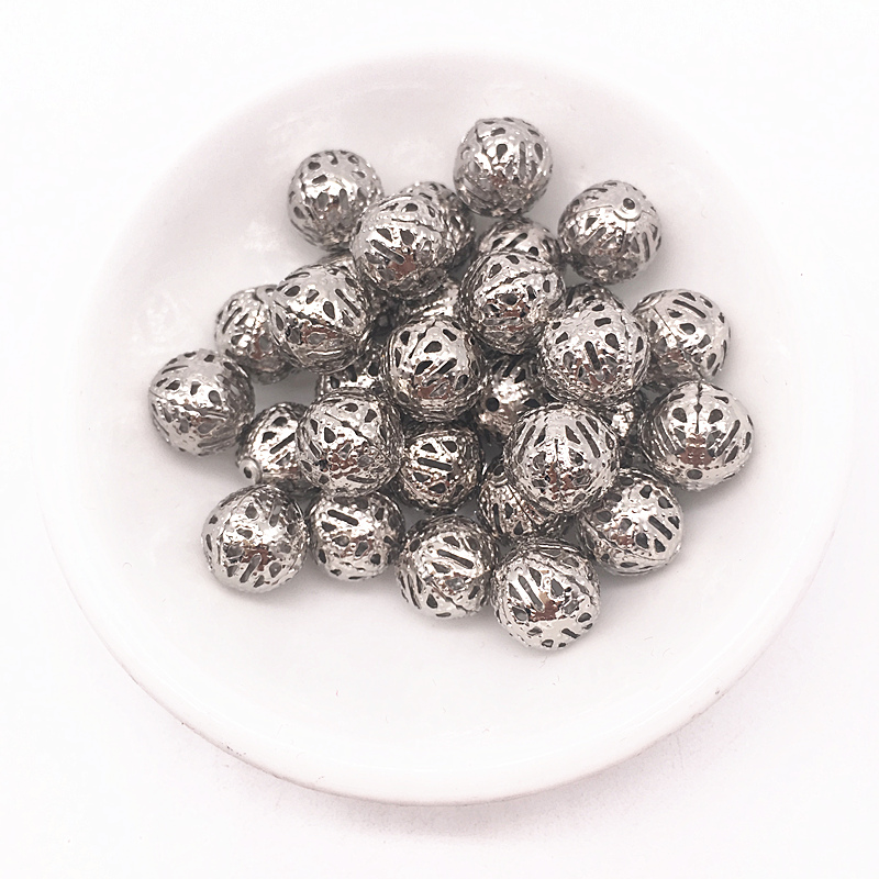 4/6/8/10mm Hollow Ball flower Beads Metal Charms Dull Silver Plated Filigree Spacer Beads Diy Jewelry Making|Jewelry Findings & Components| - AliExpress